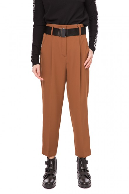Штаны женские с высокой талией коричневые с заутюженными стрелками Luisa Cerano