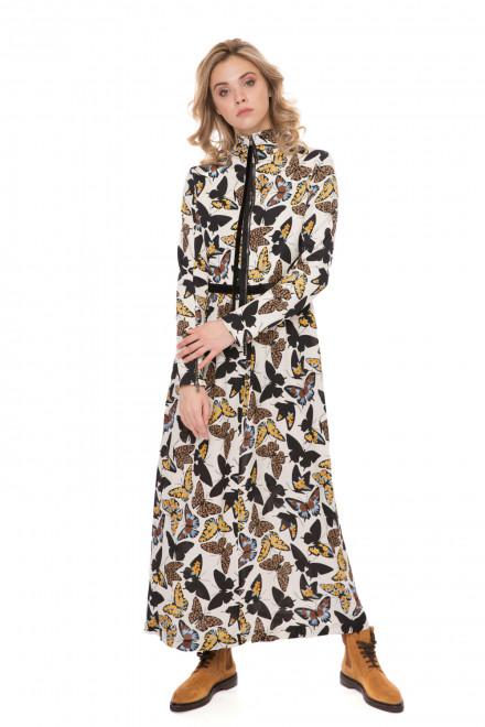 Платье женское длинное приталенное белое с бабочками Riani