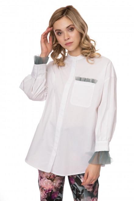 Блуза женская белая оверсайз с тюлевыми вставками и длинным рукавом Riani