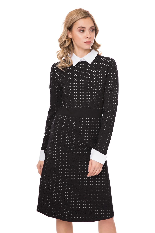 черное платье с белыми манжетами купить
