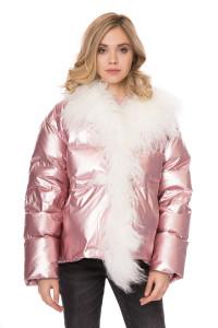 Куртка женская (пуховик) светло-розовая с опушкой металлик оверсайз Miss sixty