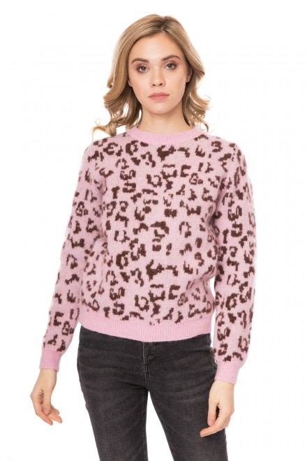 Свитер женский из мохера светло-розовый в леопардовый принт Miss sixty
