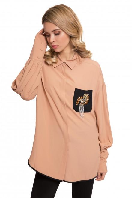 Блуза женская бежевая со стразами свободного кроя Beatrice b
