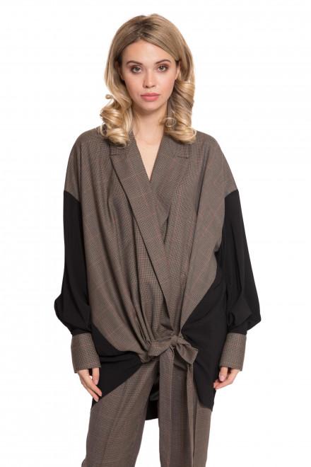 Блуза женская на запах с завязывающимся поясом коричневая Liviana Conti