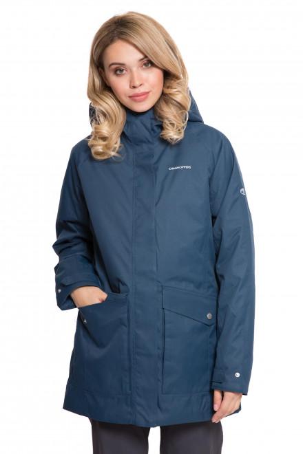 Куртка женская с капюшоном на молнии синего цвета с символикой Craghoppers