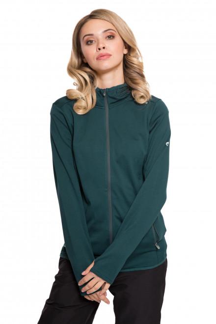 Кардиган женский спортивный зеленого цвет на молнии с капюшоном Craghoppers