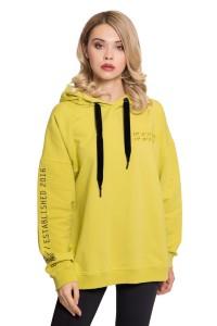 Толстовка женская свободного кроя с капюшоном желтого цвета UNQ