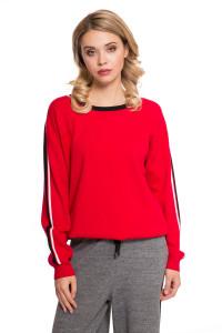 Пуловер женский свободный красного цвета UNQ