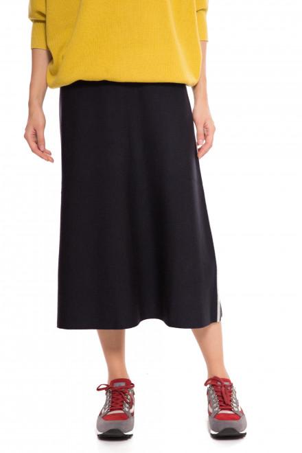 Юбка женская трикотажная темно-синяя с серой полосой по бокам UNQ