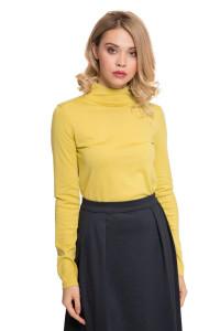 Пуловер женский из тонкого трикотажа желтого цвета UNQ