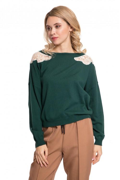 Пуловер женский зеленый с кружевными вставками Le Coeur