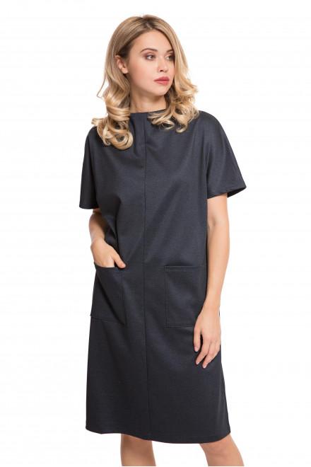 Платье женское темно-серое свободное с рукавом три четверти UNQ