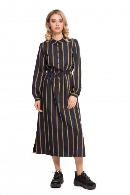 Платье женское миди темно-синее в желтую полоску с разрезами под пояс UNQ