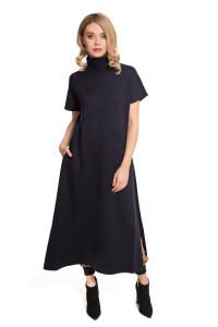 Платье женское длинное с высоким воротником, короткими рукавами и разрезами UNQ