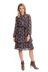 Платье женское из прозрачной ткани с оборками и длинным рукавом приталенное Sfizio