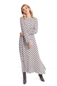 Платье женское в пол серого цвета с абстрактным принтом под пояс Riani