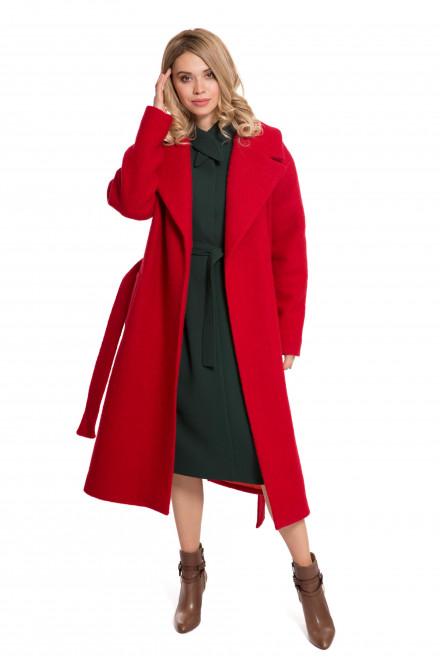 Пальто женское красного цвета на запах с поясом шерстяное Iris Janvier
