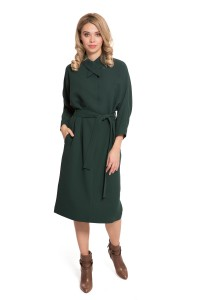 Платье женское трикотажное темно-зеленое с поясом Iris Janvier