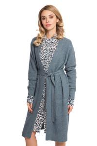 Кардиган женский серый без застежки с поясом длинный серого цвета Repeat
