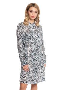Платье-рубашка женское с поясом синего цвета в цветочный принт Repeat