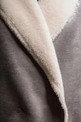 Дубленка женская оверсайз серая из эко-кожи Liviana Conti