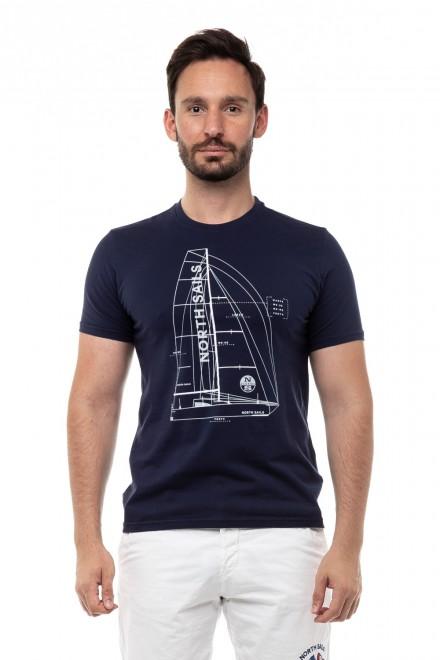 Футболка мужская темно-синяя с принтом парусник North Sails
