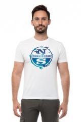 Футболка мужская белая с коротким рукавом и крупным логотипом North Sails