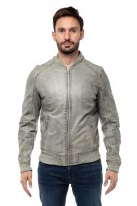 Куртка кожаная серая Oakwood