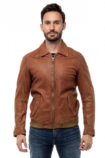 Куртка мужская кожаная коричневая Oakwood