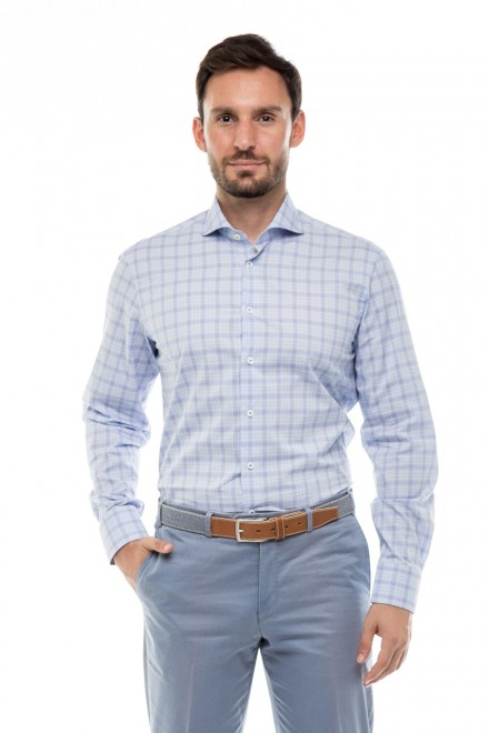 Рубашка мужская светло-голубая в клетку Van Laack