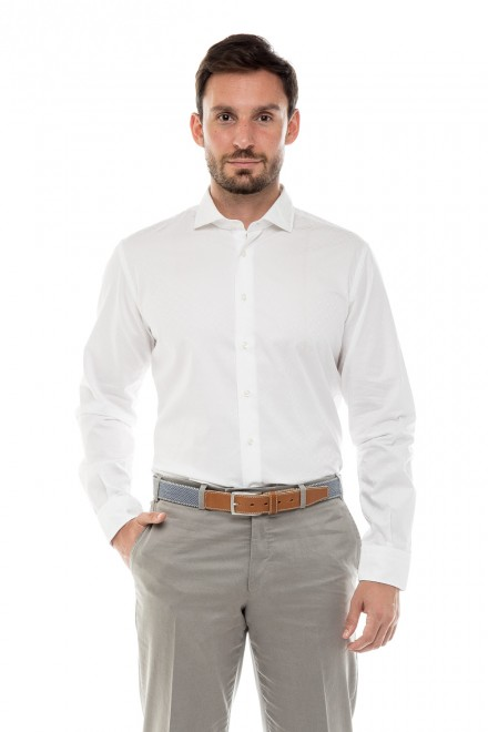 Рубашка мужская белая с длинным рукавом Delsiena