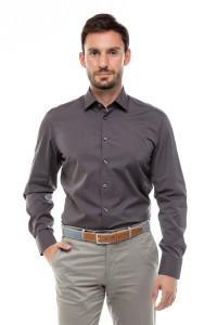 Серая однотонная рубашка мужская Van Laack