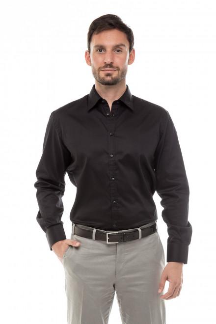 Рубашка мужская черная с длинным рукавом однотонная Delsiena