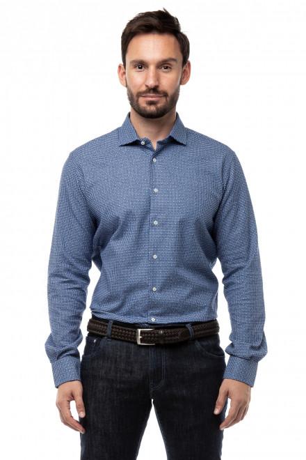Рубашка мужская синий в мелкую клетку Delsiena
