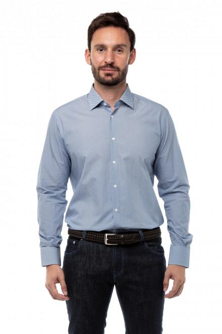 Рубашка мужская голубая в мелкий горох Delsiena
