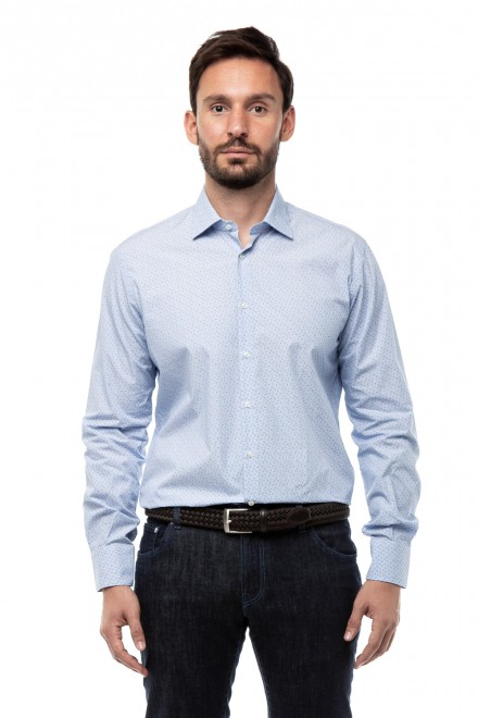 Рубашка мужская с длинным рукавом голубая в цветочный принт Delsiena