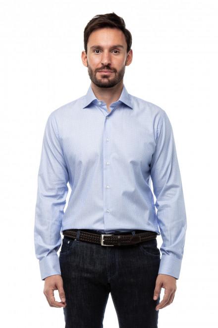 Рубашка мужская голубая в мелкую клетку Delsiena