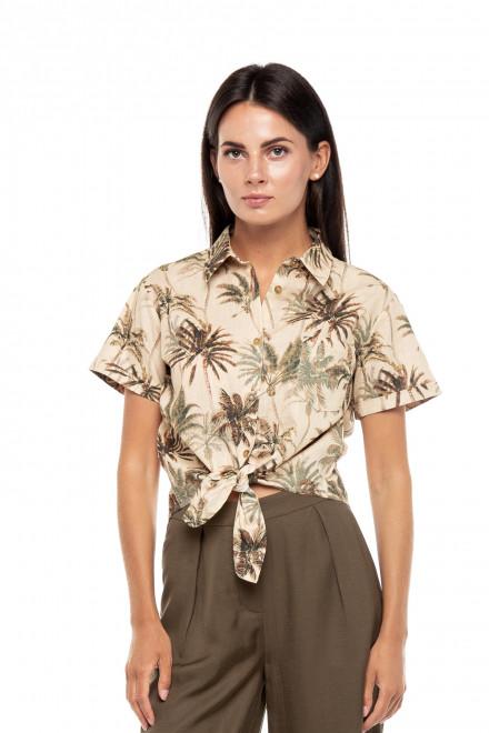 Блуза женская льняная бежевая с принтом пальмы UNQ