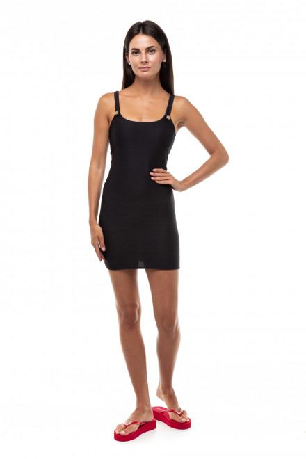Платье пляжное в чёрном цвете из рифлёного трикотажа Emporio Armani