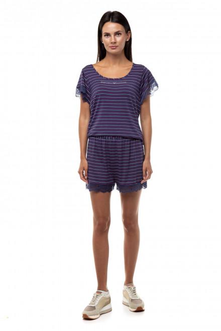 Пижама тёмно-синего цвета в красную и белую полоску Emporio Armani