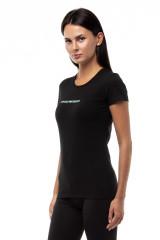 Футболка женская черная с логотипом Emporio Armani 1