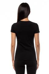 Футболка женская черная с логотипом Emporio Armani 2