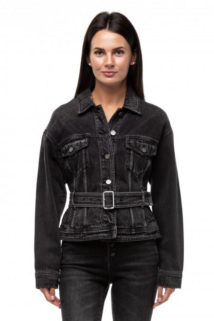 Куртка джинсовая черная оверсайз с поясом Miss sixty