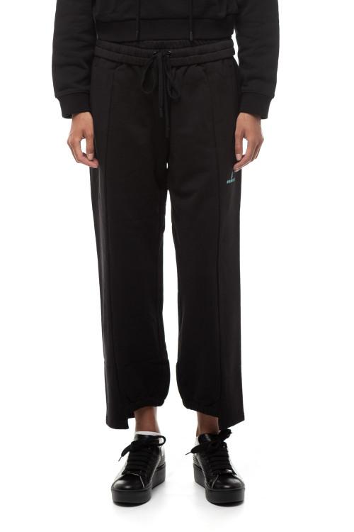 Штаны женские черные укороченные с символикой Miss Sixty