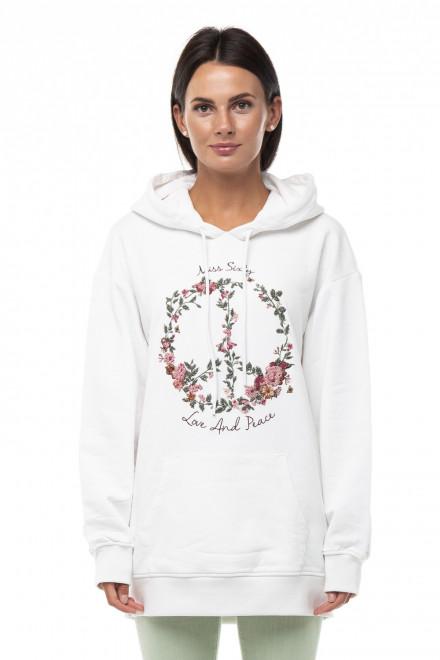 Свитшот женский с капюшоном с цветочным принтом и надписью Miss Sixty