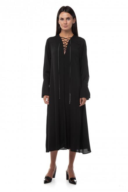 Чёрное платье длинное, с коротким рукавами Beatrice