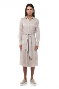Платье бежевое с микро принтом Repeat