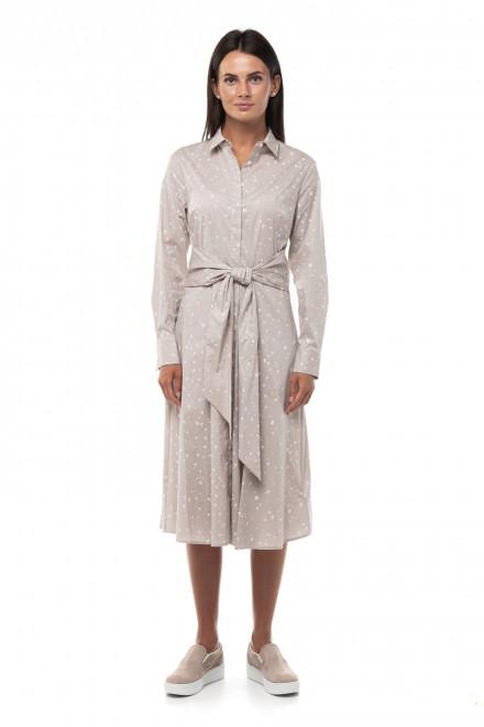 Платье женское серого цвета в сердечки с широким поясом Repeat