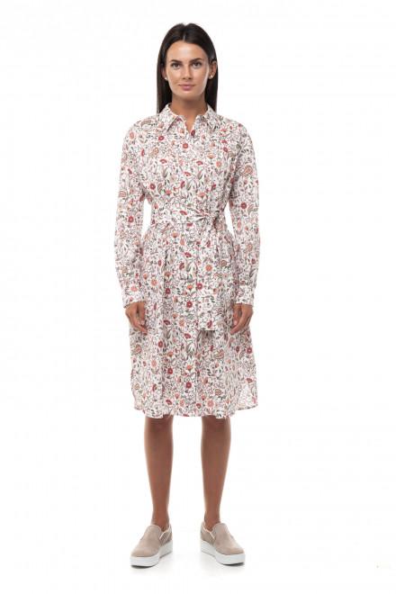 Платье женское средней длины белое в цветочный принт Repeat