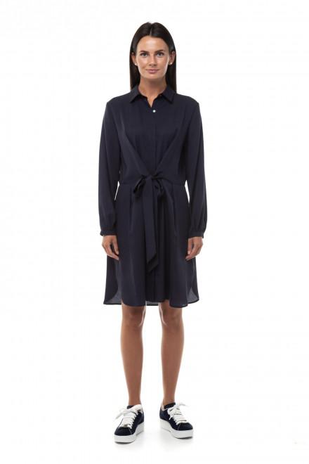 Платье женское темно-синее средней длины с поясом Repeat